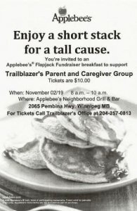 Image shows stack of pancakes for flapjack fundraiser on November 2.